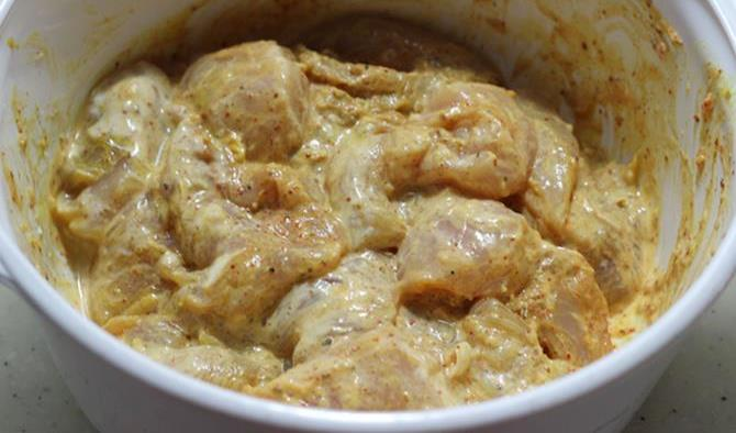 marinate with ingredients for easy chicken biryani recipe