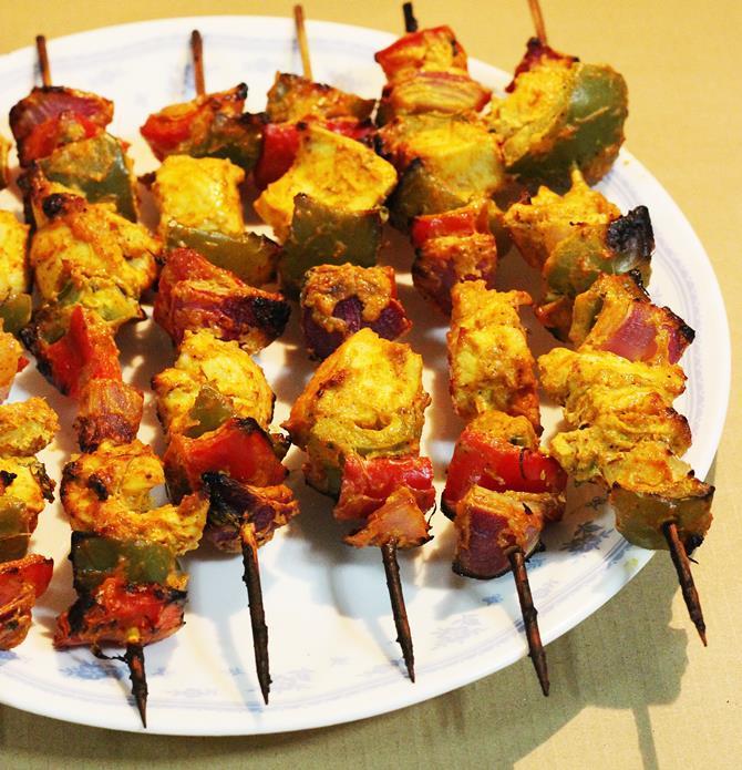 skewed grilled restaurant style chicken tikka recipe