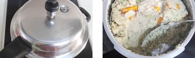 pressure cooking daliya to make broken wheat upma recipe