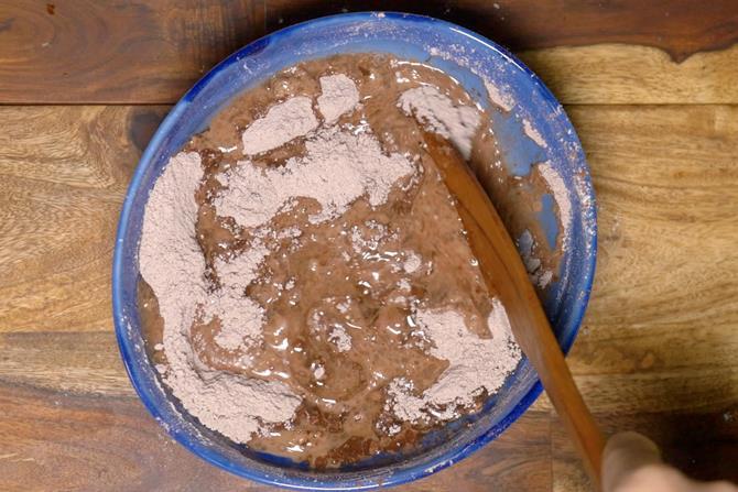 mixing ingredients to make batter