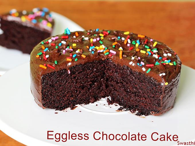 Tremendous Eggless Chocolate Cake Swasthis Recipes Funny Birthday Cards Online Chimdamsfinfo