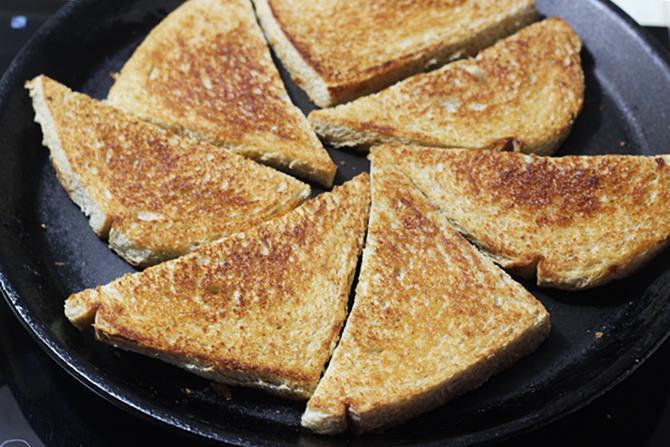 frying bread to golden to make double ka meetha