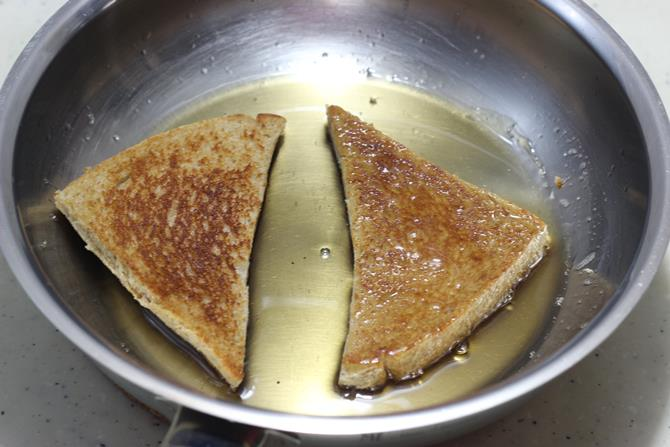 coating bread with sugar syrup for double ka meetha