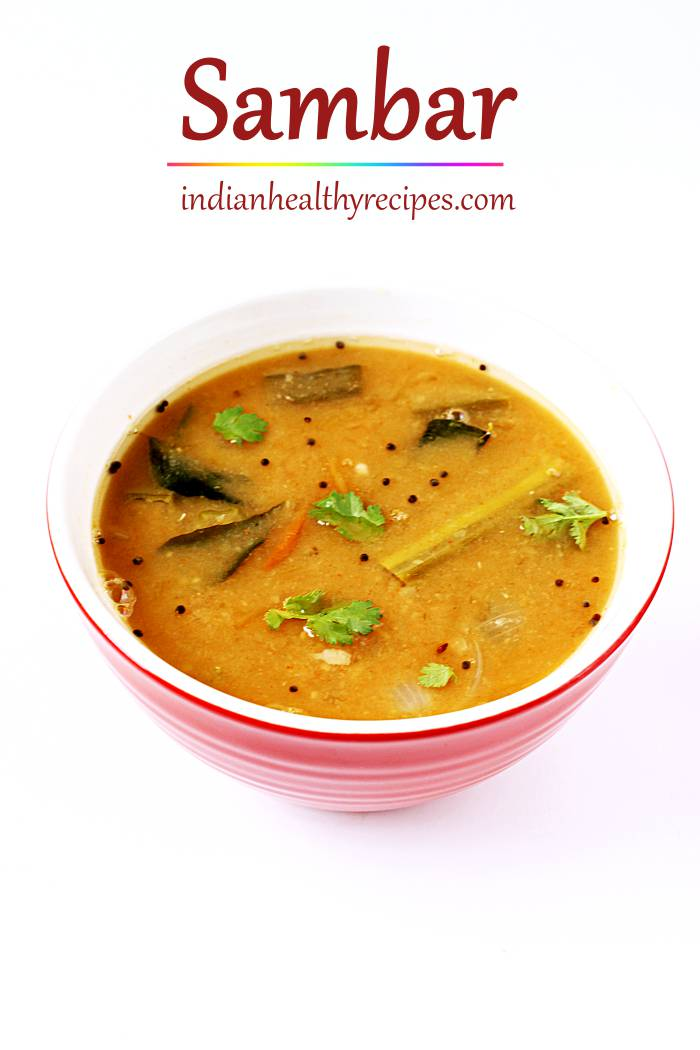 sambar recipe - sambar is a delicious soup made with lentils, spice powder & herbs. Make the best sambar at home with this easy and quick recipe #sambarrecipe #sambar #sambhar