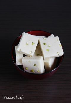 badam burfi recipe , almond burfi recipe