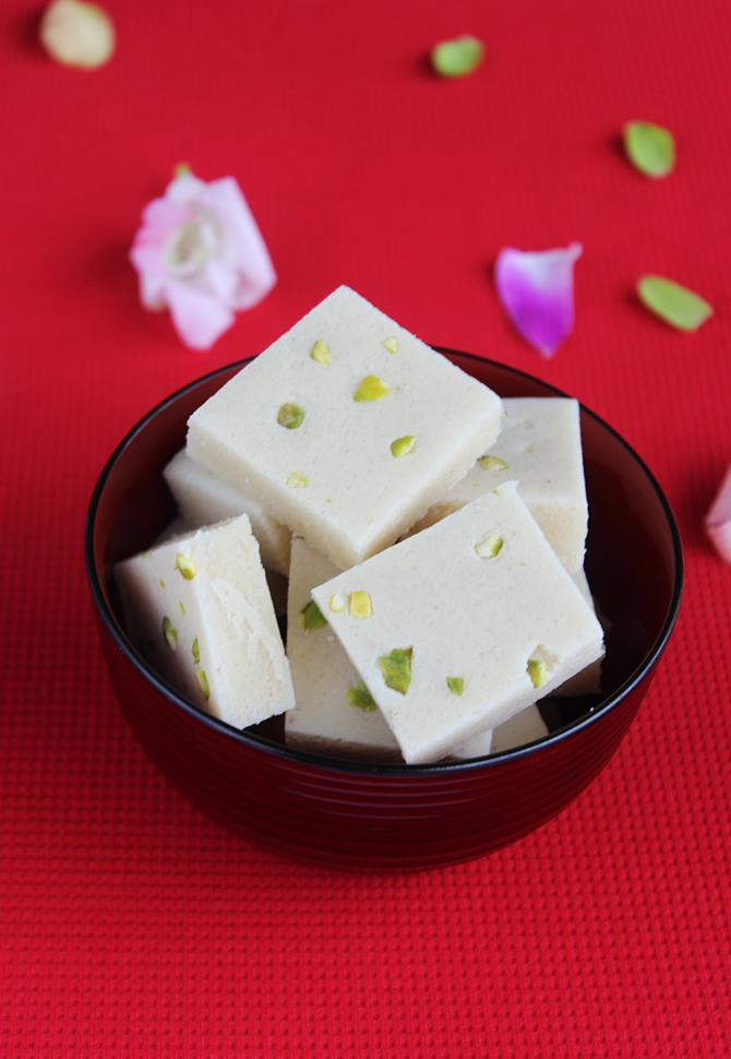 cut to sizes badam burfi made without ghee and milk