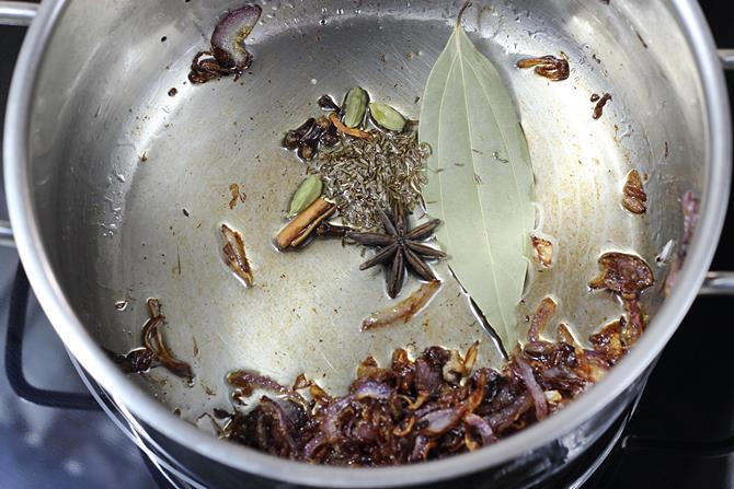 sauteing spices for chicken biryani recipe
