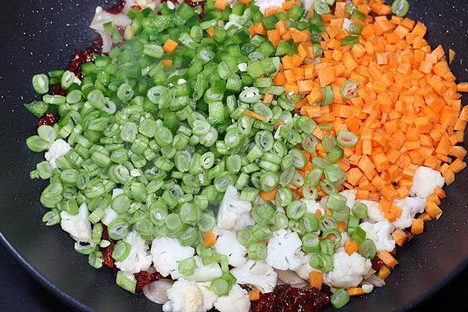 frying veggies