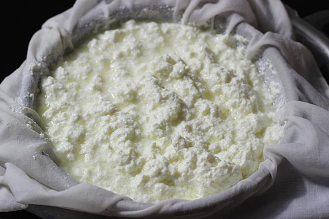 draining whey for bengali cham cham recipe