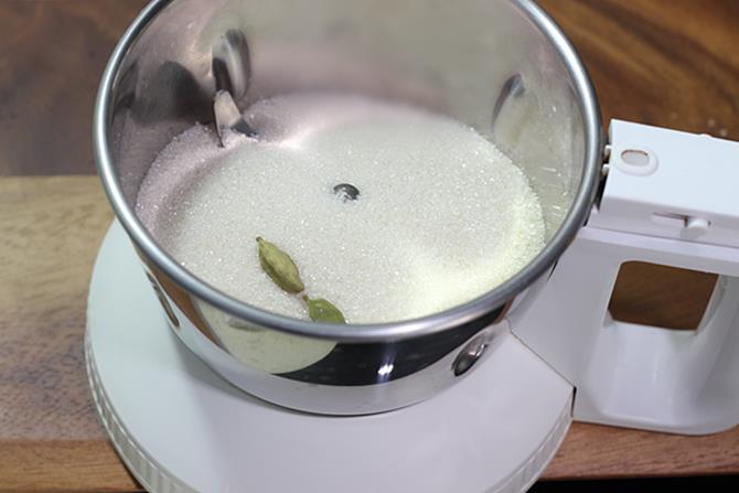addition of sugar to make besan nankhatai recipe