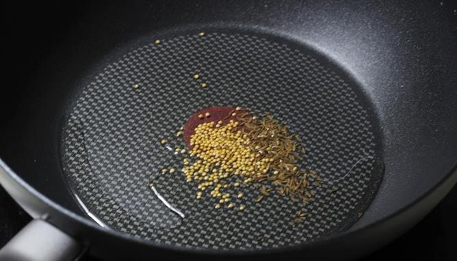 seasoning mustard cumin for brinjal fry recipe
