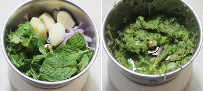 making wet masala paste for chicken biryani recipe
