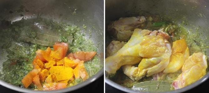 adding meat/ mutton for muslim chicken biryani recipe