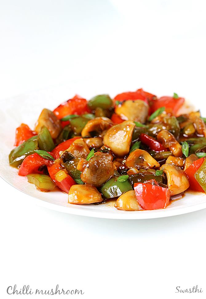 Chilli Mushroom Stir Fry Recipe How To Make Indo Chinese Chilli