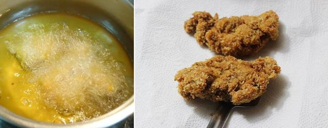deep frying marinated chicken for fried chicken kfc style