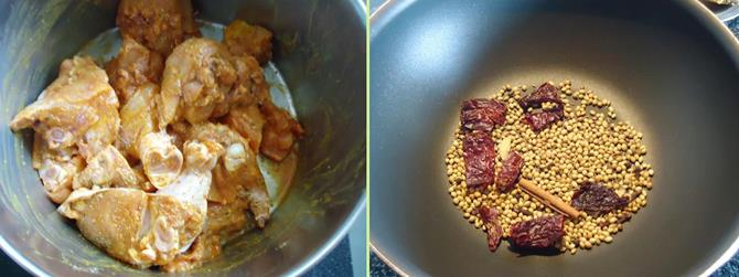 roasting spice to make kerala chicken curry recipe