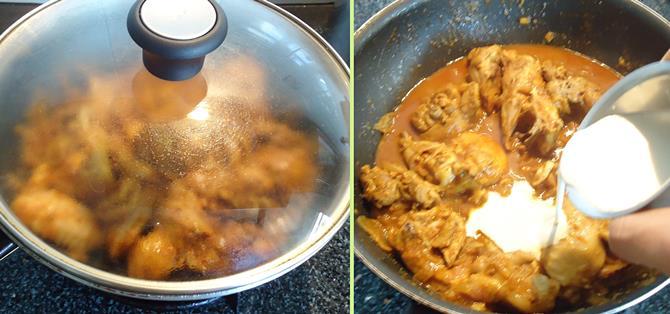 addition of garam masala to make nadan chicken curry recipe
