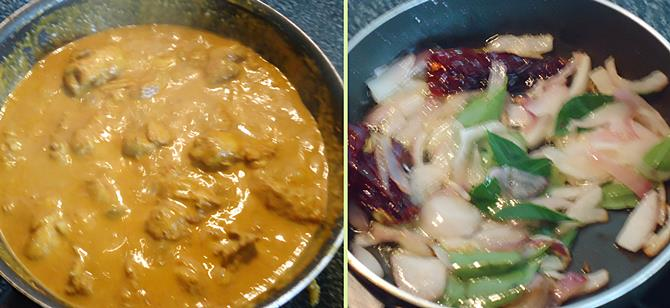 Kerala chicken curry recipe nadan chicken curry recipe with pouring coconut milk to make kerala chicken curry forumfinder Choice Image
