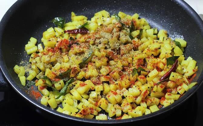 addition of spice powders chili powder for potato fry recipe