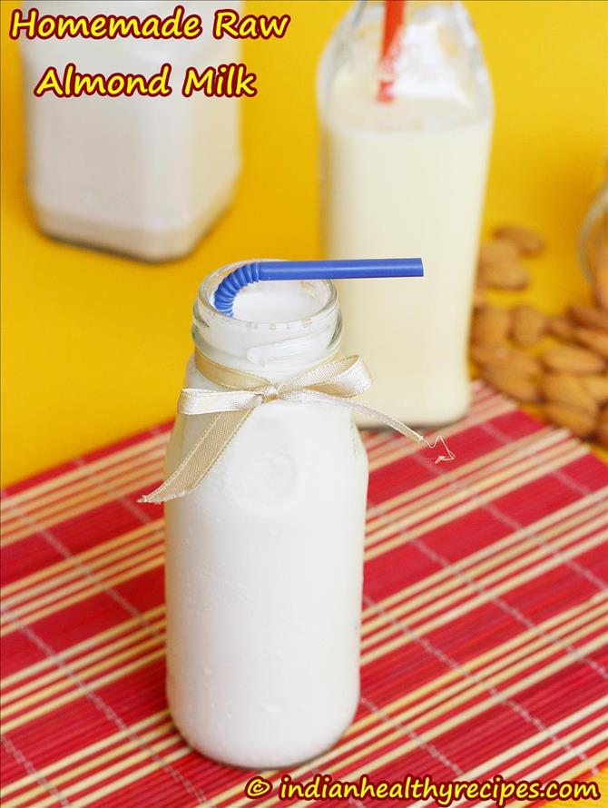 Homemade Raw Almond milk recipe from swasthi
