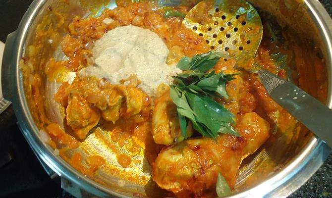 addition of ground spice paste for chettinad chicken curry recipe