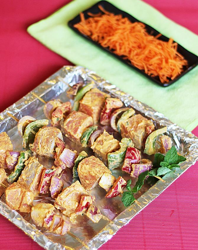 grilling fish tikka for 10 minutes