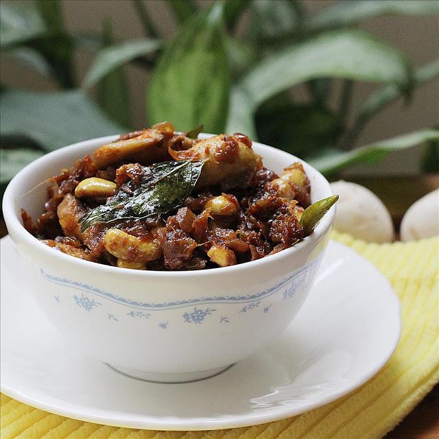 garnishing mushroom curry with coriander leaves