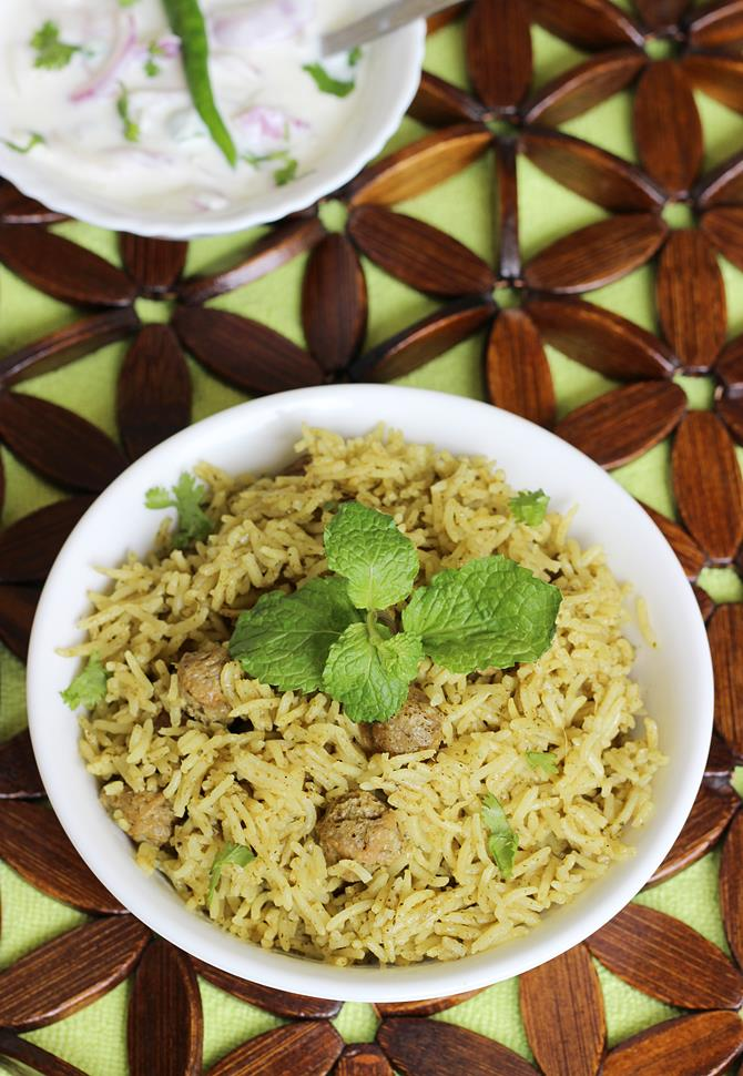 Serve soya chunks biryani