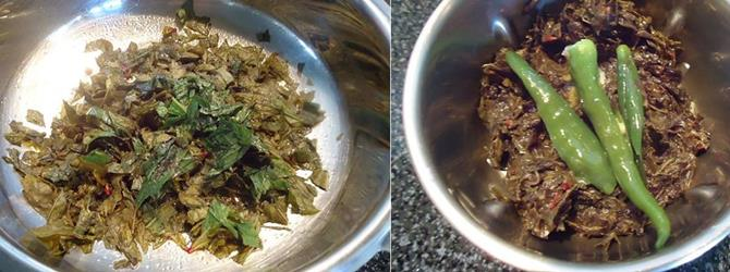 sauteing leaves until wilted to make gongura chicken