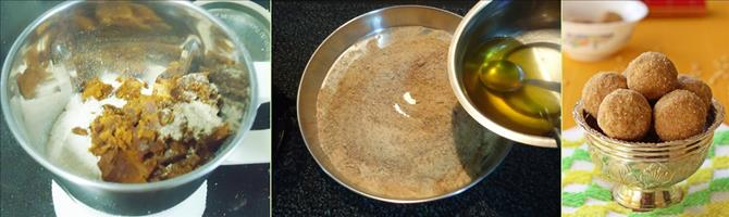 blending jaggery with dal