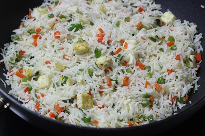 garnished paneer fried rice recipe is ready