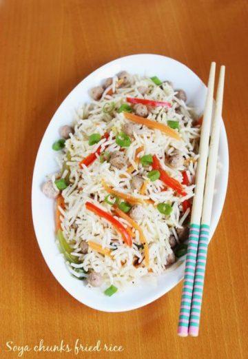 soya chunks fried rice, meal maker fried rice