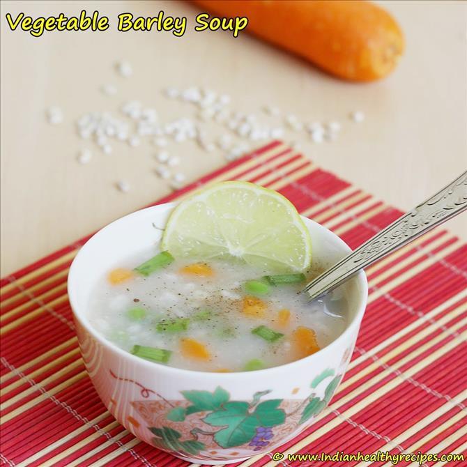 garnish serve vegetable barley soup