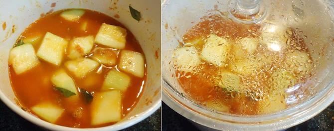 adding water cooking sorakaya pulusu