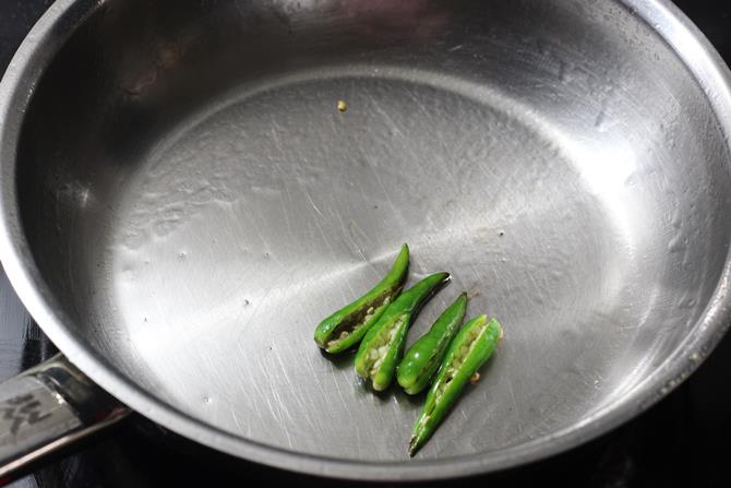 frying chilies for brinjal chutney recipe