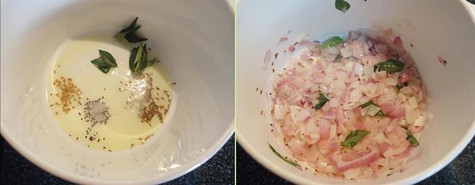 frying onions to make anapakaya pulusu