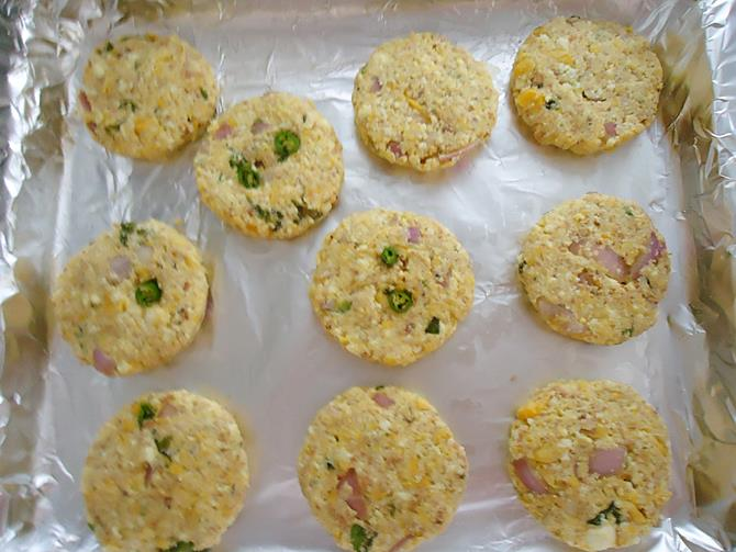 making patties and keep them on a sheet to make paneer tikki