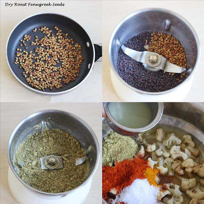 get the spice powders ready for cauliflower pickle
