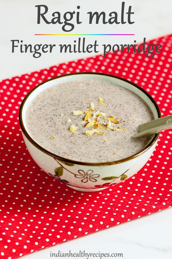 Ragi malt is a delicious & healthy breakfast beverage made with finger millet, water & jaggery. #ragi #ragimalt #fingermillet #millet #porridge #healthy