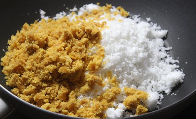 coconut jaggery poornam to make kobbari kudumulu recipe