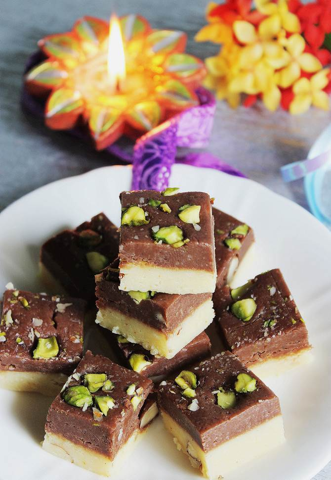 chocolate burfi recipe swasthis recipes