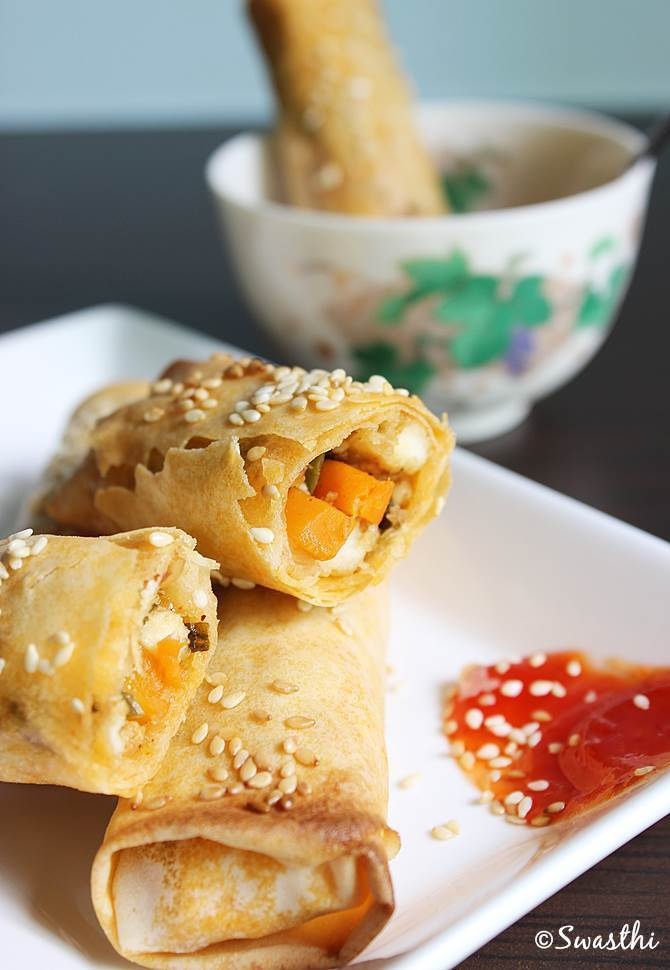 baked vegetable spring roll recipe