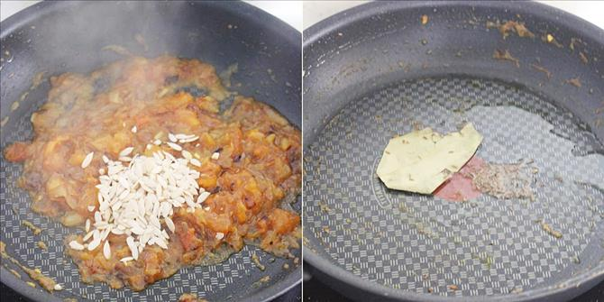 sauteing bay leaf and cumin for capsicum salan recipe 02