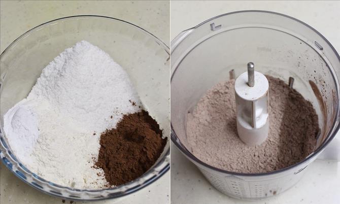 process flour coconut in a jar for chocolate coconut cake recipe