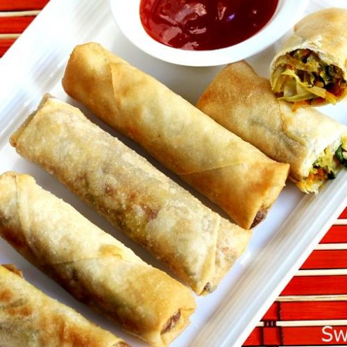 Spring Rolls Recipe How To Make Veg Spring Rolls Swasthi S Recipes