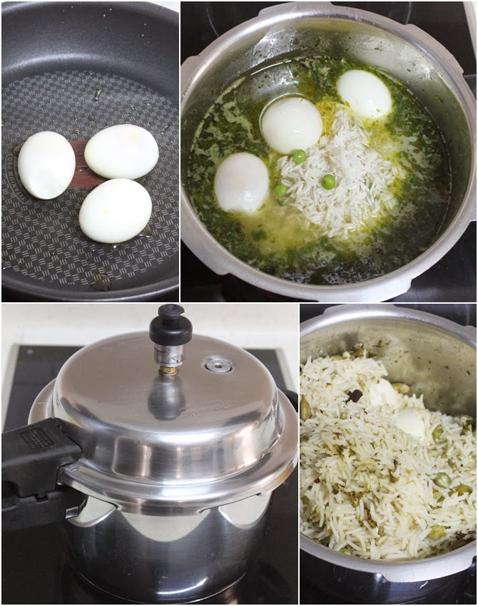 addition of rice eggs peas to make egg pulao