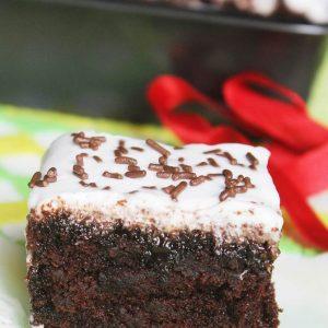 feather light chocolate poke cake