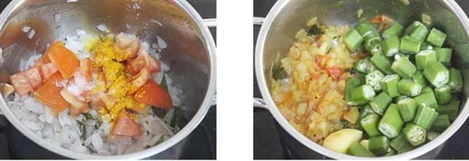 frying okra potato for bendakaya pulusu