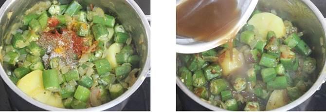 addition of tamarind juice to make bendakaya pulusu recipe