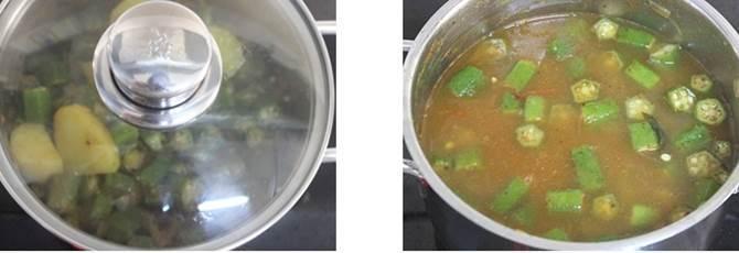 cooking on a low heat to thicken bendakaya pulusu